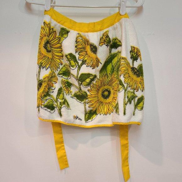 Vintage Sunflower Yellow Terry Cloth Half Apron